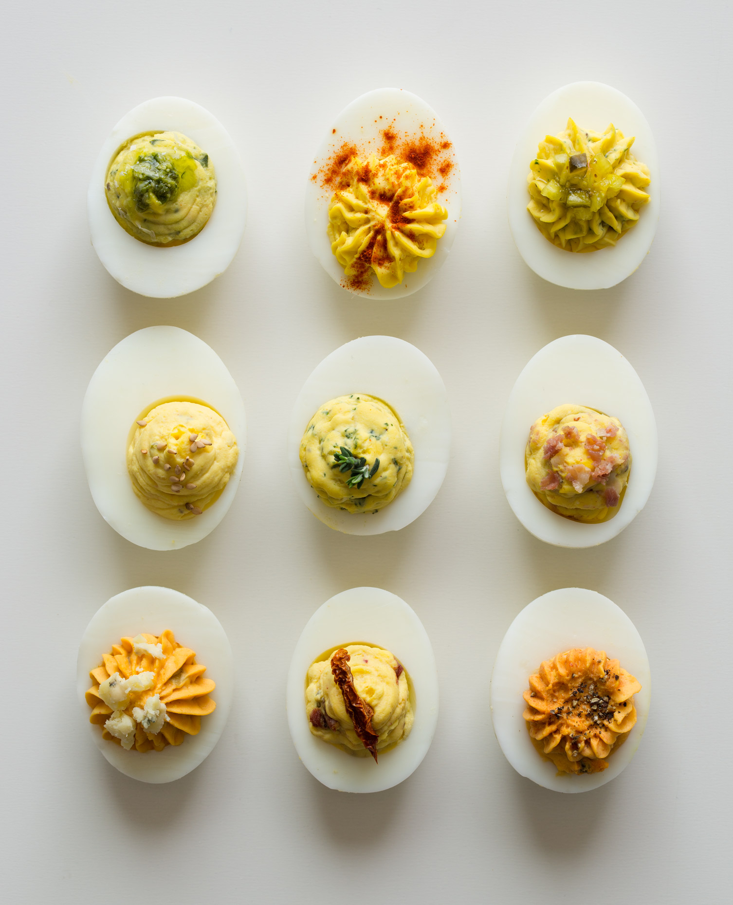 Deviled Eggs a food product shots