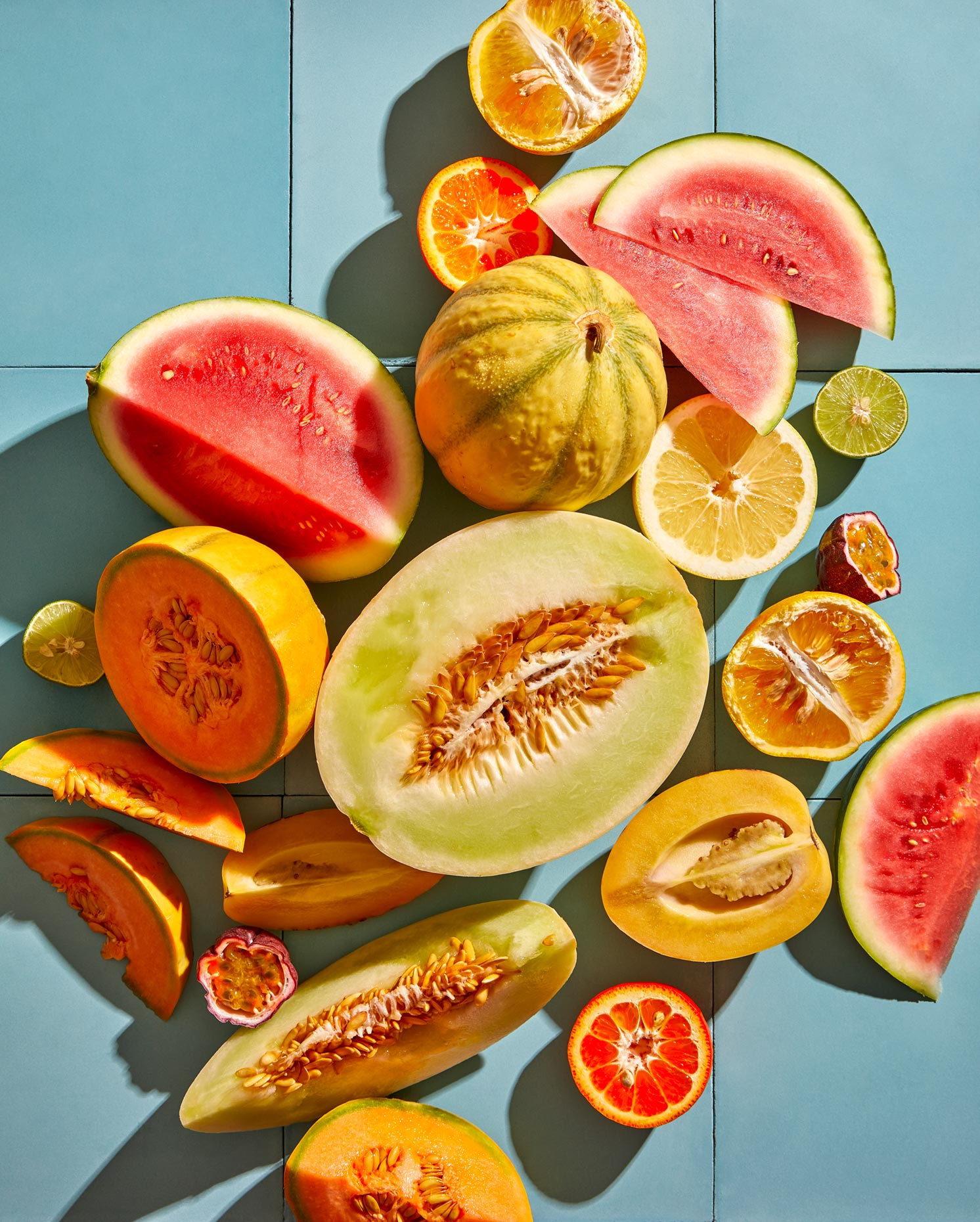Melons and fruit in bright colors by Teri Lyn Fisher